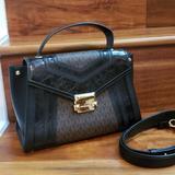 Michael Kors Bags | Michael Kors Whitney Medium Leather Logo Satchel | Color: Black/Brown | Size: Os