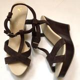 American Eagle Outfitters Shoes | Nwt American Eagle Suede Wedge Sandals | Color: Brown | Size: 9