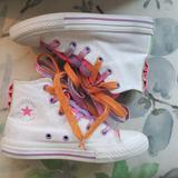 Converse Shoes   Junior Converse Hi-Tops W Multicolor Double-Laces   Color: Pink/White   Size: Junior 13