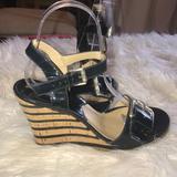 Michael Kors Shoes | Michael Kors Patent Leather Cork Wedge Heel Sandal | Color: Blue | Size: 7