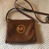 Michael Kors Bags | Michael Kors Brown Leather Crossbody Bag | Color: Brown/Gold/Purple | Size: Os
