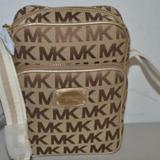 Michael Kors Bags | Michael Kors Webbing Flight Bag Mk Logo Browntan | Color: Brown/Gold/Tan | Size: Small