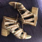 Nine West Shoes | Nine West Lace-Up Sandal | Color: Brown/White | Size: 7