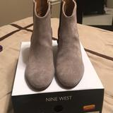 Nine West Shoes | Nine West Tristan Women'S Suede Western Ankle Boot | Color: Gray | Size: 6.5