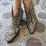 Zara Shoes | New Zara Animal Printcowboy Ankle Boots Size 7.5u | Color: Black/White | Size: 7.5