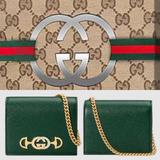 Gucci Bags | Dark Green Grainy Leather Zumi Wallet With Chain | Color: Green | Size: Os