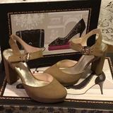 Nine West Shoes   Nine West - Round Toe Suede Buckle Platform   Color: Gold/Green   Size: 6.5