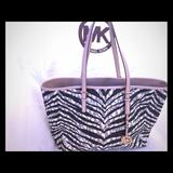 Michael Kors Bags | Mk Leather Jetset Tote Wlaptop Compartment | Color: Brown/White | Size: 18w X 11h X 6d