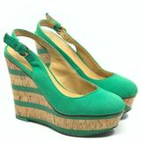 Nine West Shoes | Nine West Green Canvas & Cork Slingback Wedge | Color: Green/Tan | Size: 5.5