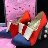 Gucci Shoes | Gucci Special Edition Luna Pumps | Color: Blue/Red | Size: 34 (4)