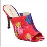 Nine West Shoes | Nine West Multi Color Funny How Peep Toe Mules | Color: Blue/Pink | Size: 8.5
