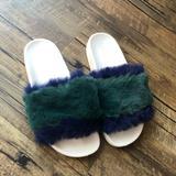 Urban Outfitters Shoes | Faux Fur Flip Flop | Color: Blue/Green | Size: 8