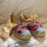Jessica Simpson Shoes   Floral Lace Up Denim Espadrilles Sandals Flats   Color: Blue/Red   Size: 6