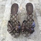 Coach Shoes | Coach The Karen Slide Sandal Square Heel Size 8 | Color: Brown | Size: 8