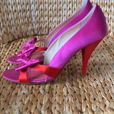 Kate Spade Shoes | Euc Kate Spade Pink & Red Satin Bow Pumps 9.5m | Color: Pink/Red | Size: 9.5