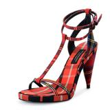 Burberry Shoes | Burberry London Canvas High Heels Sandals Shoes | Color: Black/Red | Size: Various