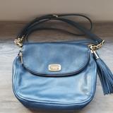 Michael Kors Bags | Michael Kors Leather Crossbody | Color: Blue/Gold | Size: Os