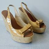 Kate Spade Shoes | Kate Spade Espadrille Platform Slingback Wedges | Color: Cream/Tan | Size: 9