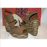 Tory Burch Shoes | New! Tory Burch Linley Espadrille Wedge Sandal | Color: Green | Size: 9