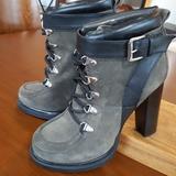 Nine West Shoes | Nine West High Heel Combat Boot | Color: Black/Green | Size: 8