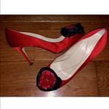 Kate Spade Shoes | Kate Spade Red Satin Rosette Pumps Heels | Color: Red | Size: 10