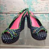 Lilly Pulitzer Shoes | Lilly Pulitzer Polka Dots Heels 7.5 Peep Toe Wedge | Color: Blue/Pink | Size: 7.5