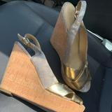 Coach Shoes | Coach Gold And Cork Wedges!! Jessy Slingback Style | Color: Gold/Tan | Size: 9