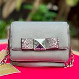 Michael Kors Bags | Michael Kors Tina Small Clutch Leather Crossbody | Color: Silver | Size: Os