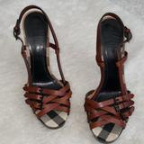Burberry Shoes | Burberry London Brown Leather Strappy Sandal | Color: Black/Brown | Size: 10