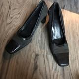 Coach Shoes | Coach Square Toe Chunky 4 Heels Leather Pump Work | Color: Black | Size: 9.5