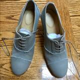 J. Crew Shoes | J Crew Canvas Campbell High Heel Oxfords. 3.5 | Color: Green | Size: 6.5