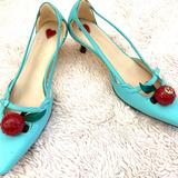 Gucci Shoes   Gucci Unia Cherry-Embellished Leather Pumps   Color: Blue/Gold/Green/Red   Size: It Eu 36.5 6.5 Us
