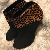 Nine West Shoes   Nine West Peep Toe Ankle Heel Boots   Color: Black/Tan   Size: 5