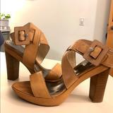 Coach Shoes | Coach Suede Open Toe Sling Back Platform Sandal | Color: Tan | Size: 9