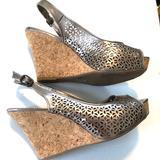 Nine West Shoes   Metallic Nine West Wedge Peep Toe Back Strap 8.5   Color: Red   Size: 8.5