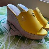 Kate Spade Shoes | Kate Spade Espadrille Tenley Wedge Mule Sandal | Color: Gold/Yellow | Size: Various