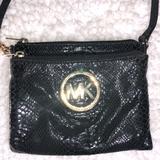 Michael Kors Bags   Mk ~ Michael Kors ~Animal Print Leather Crossbody   Color: Black/Gold   Size: 8 X 7