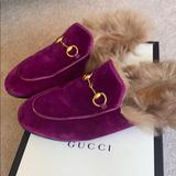 Gucci Shoes | Gucci Princeton Velvet And Lamb Fur Mules Size 36 | Color: Purple | Size: 6