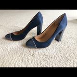 J. Crew Shoes | Jcrew Olive Satin Cap Toe Pumps | Color: Blue | Size: 8.5