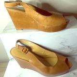 Nine West Shoes   Nine Westleather Platform Peep Toe Wedge Sandal   Color: Tan   Size: 8.5