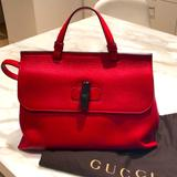 Gucci Bags | Gucci Red Leather Daily Tote | Color: Red | Size: 13 W X 9 12 H X 4 12 D