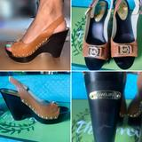Michael Kors Shoes   Michael Kors Peep Toe High Heel Wedges   Color: Black/Tan   Size: 7