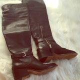 Coach Shoes | Coach Knee High Black Leather Boots | Color: Black | Size: 5