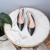 Kate Spade Shoes   Kate Spade Shiny Black Slingback Kitten Heel Shoes   Color: Black   Size: 6.5