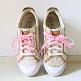 Coach Shoes   Coach Logo Canvas Pink Lace Leather Trim Sneakers   Color: Pink/Tan   Size: 8