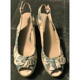 Nine West Shoes | Nine West Platform Espadrille Sandal Size 9 12 | Color: Blue/Cream | Size: 9.5