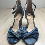 Jessica Simpson Shoes | Jessica Simpson- Stonewashed Denim Wedges | Color: Blue/Tan | Size: 8.5