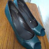 Nine West Shoes | Nine West Green Wedge Open-Toe Pumps 9m | Color: Green | Size: 9