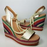 Kate Spade Shoes | Kate Spade Women Sandals Daisy Too Gold Wedge Lace | Color: Gold/Tan | Size: 8.5