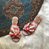 Madewell Shoes | Madewell Red Striped Canvas Sandal | Color: Red/White | Size: 5.5